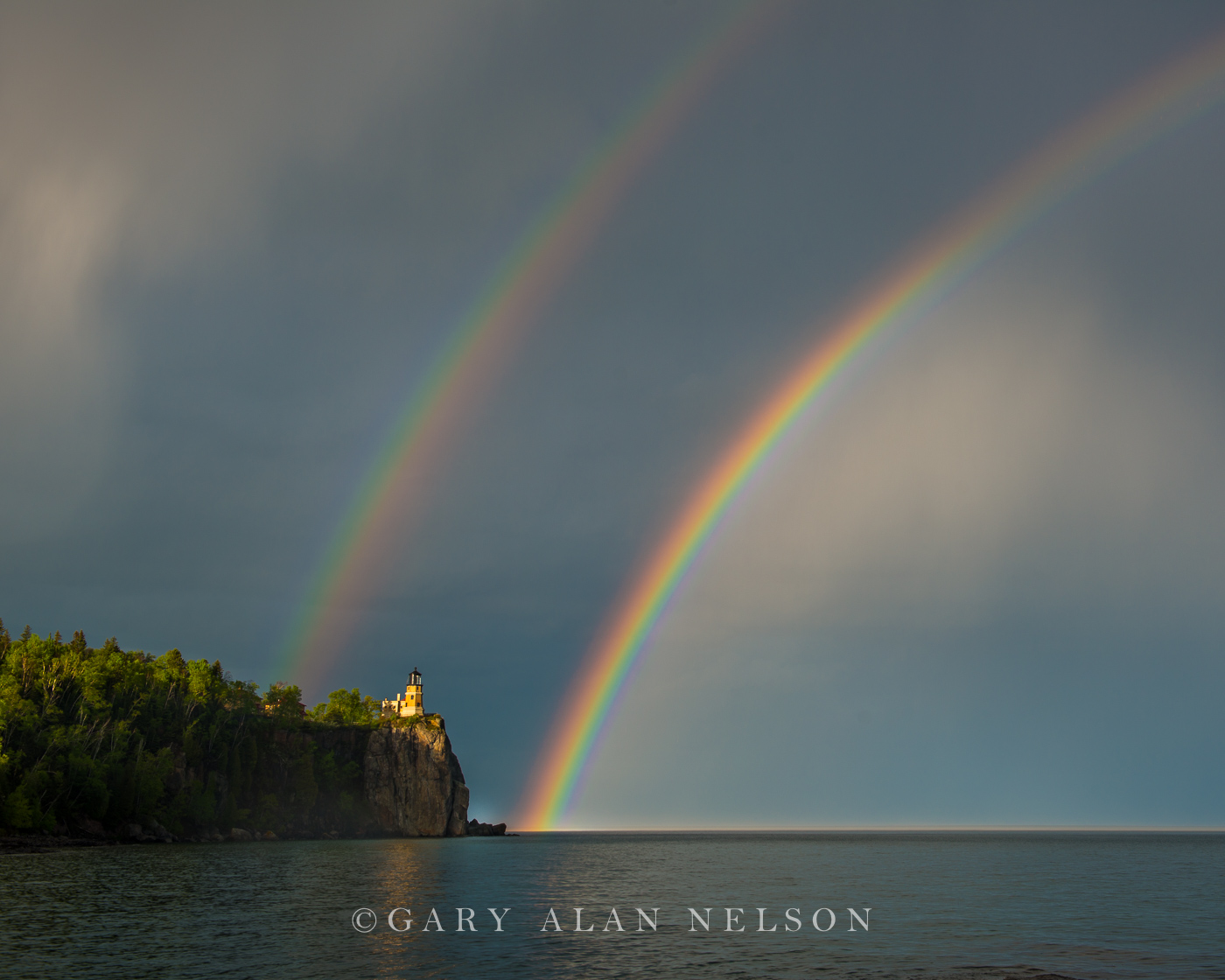 lake superior,lighthouse,minnesota,rainbow,state park,storm, photo