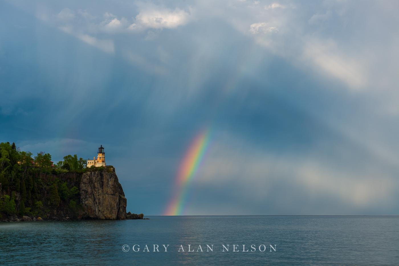lake superior, split rock, minnesota, rainbow, lighthouse, photo