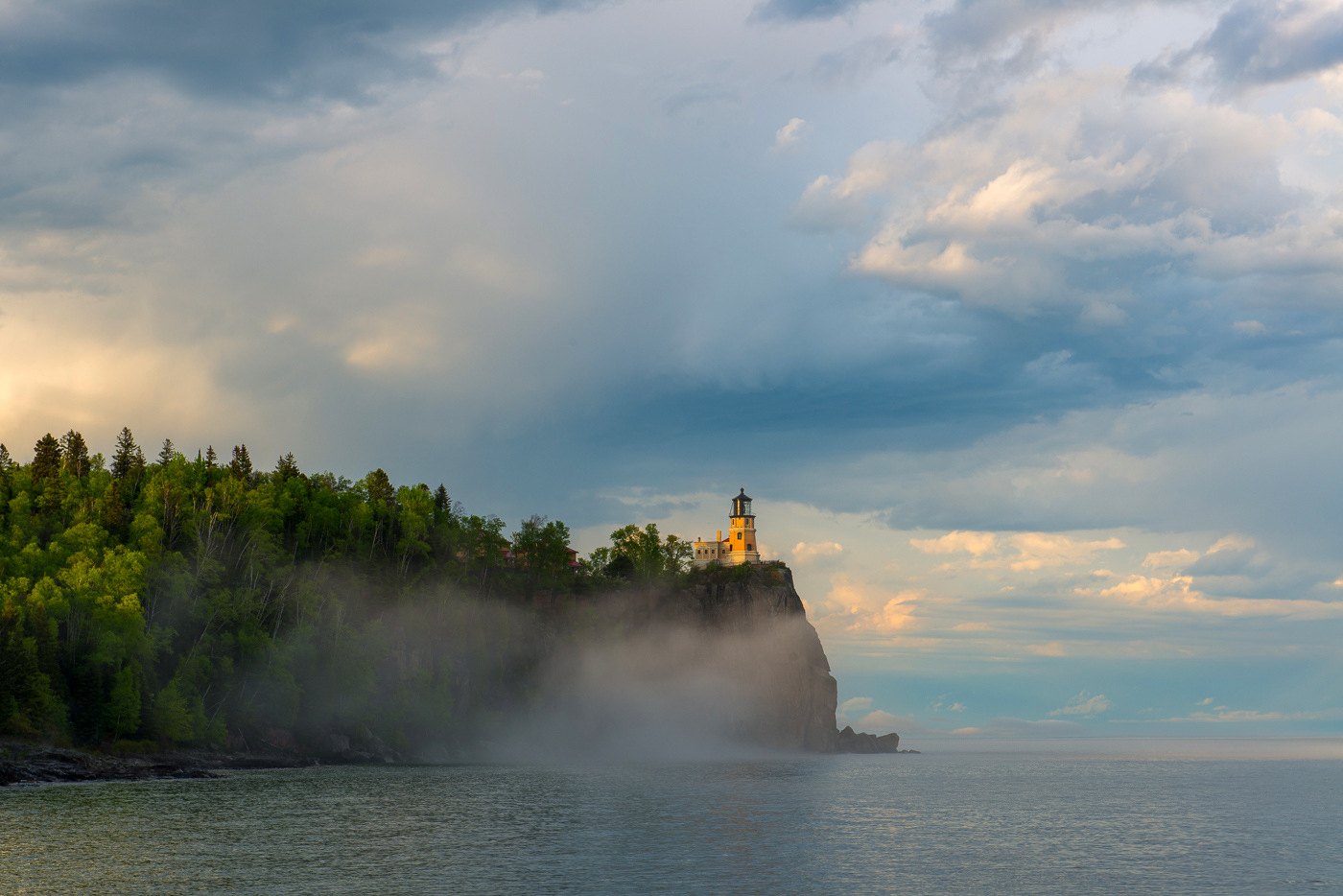 Clouds and fog along Lake Superior and Split Rock Lighthouse, Split Rock Lighthouse State Park, Minnesota
