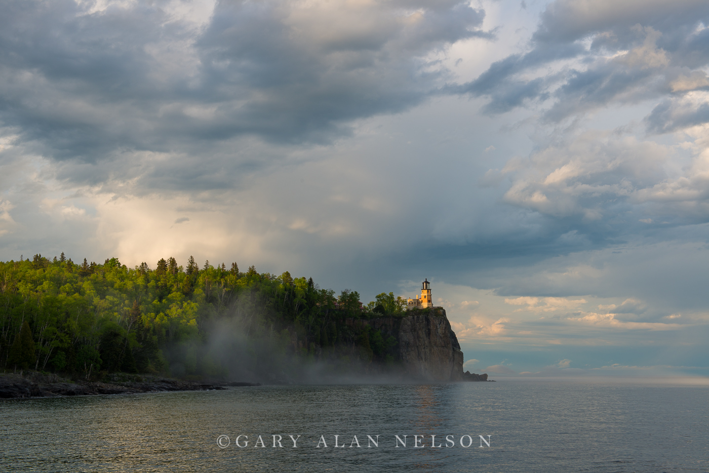 fog, clouds, minnesota, split rock, lake superior, lighthouse, photo