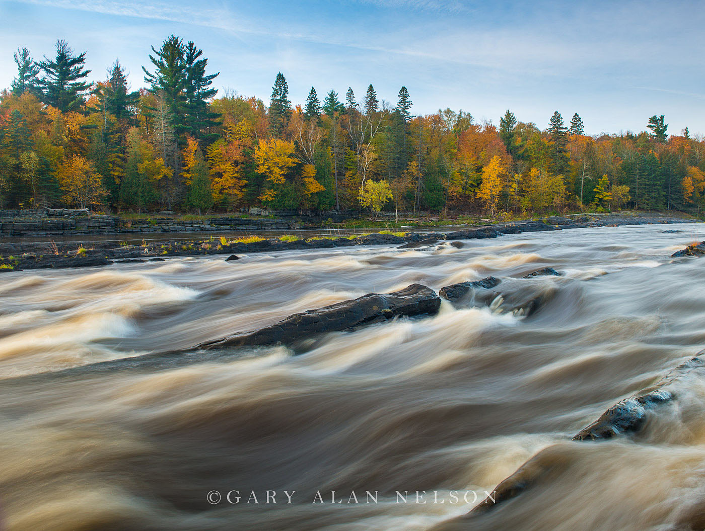 Rapids on the St. Louis River in autumn, Jay Cooke State Park, Minnesota