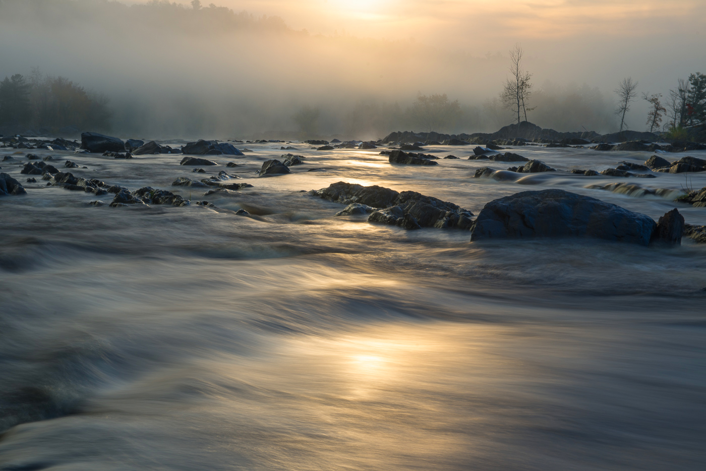 Rising sun and fog on the St. Louis River, Jay Cooke State Park, Minnesota
