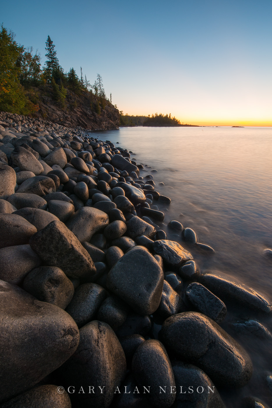 cobble beach, minnesota, state park, lake superior, split rock, dawn, beach, photo