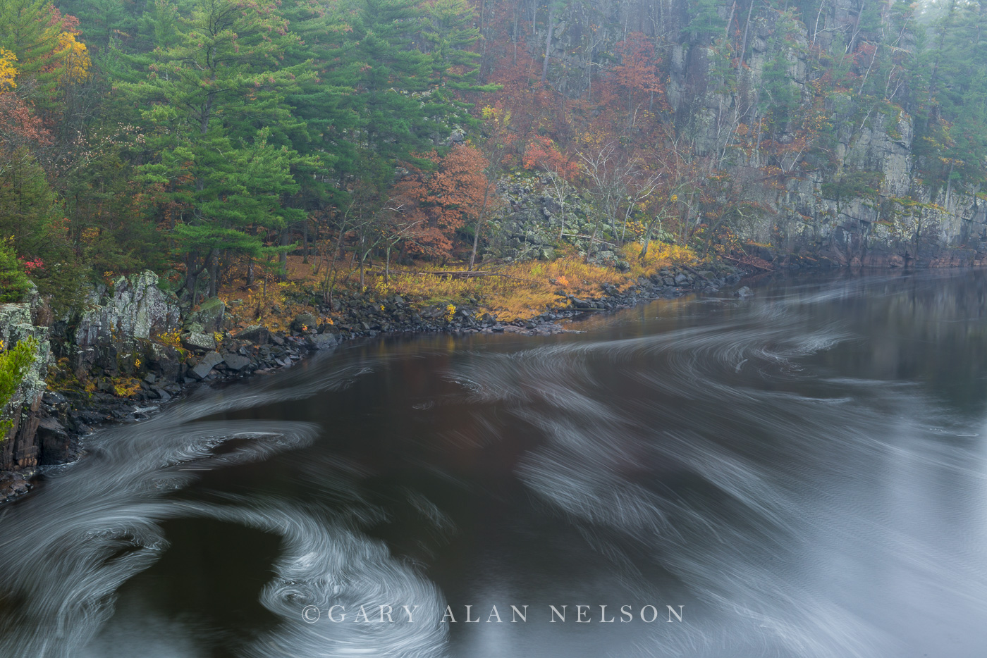 Fog and swirling water along the Dalles of the St. Croix National Scenic River, Minesota/Wisconsin