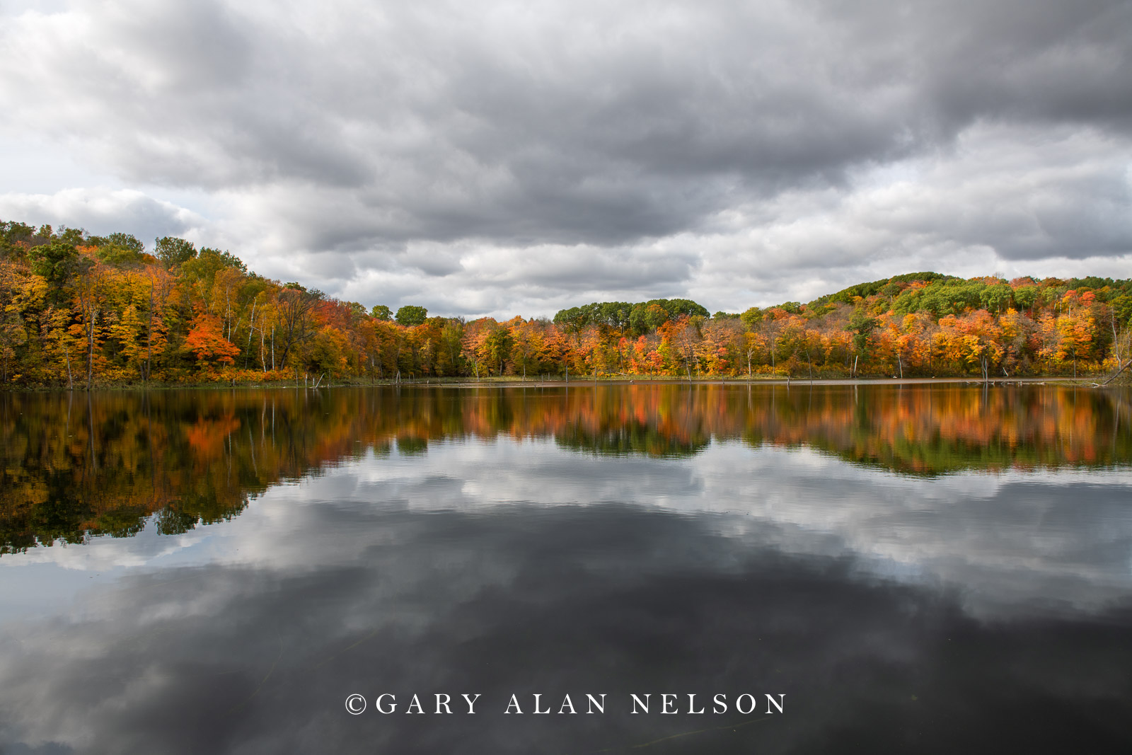 Clouds and autumn reflections on calm pond, Maplewood State Park, Minnesota
