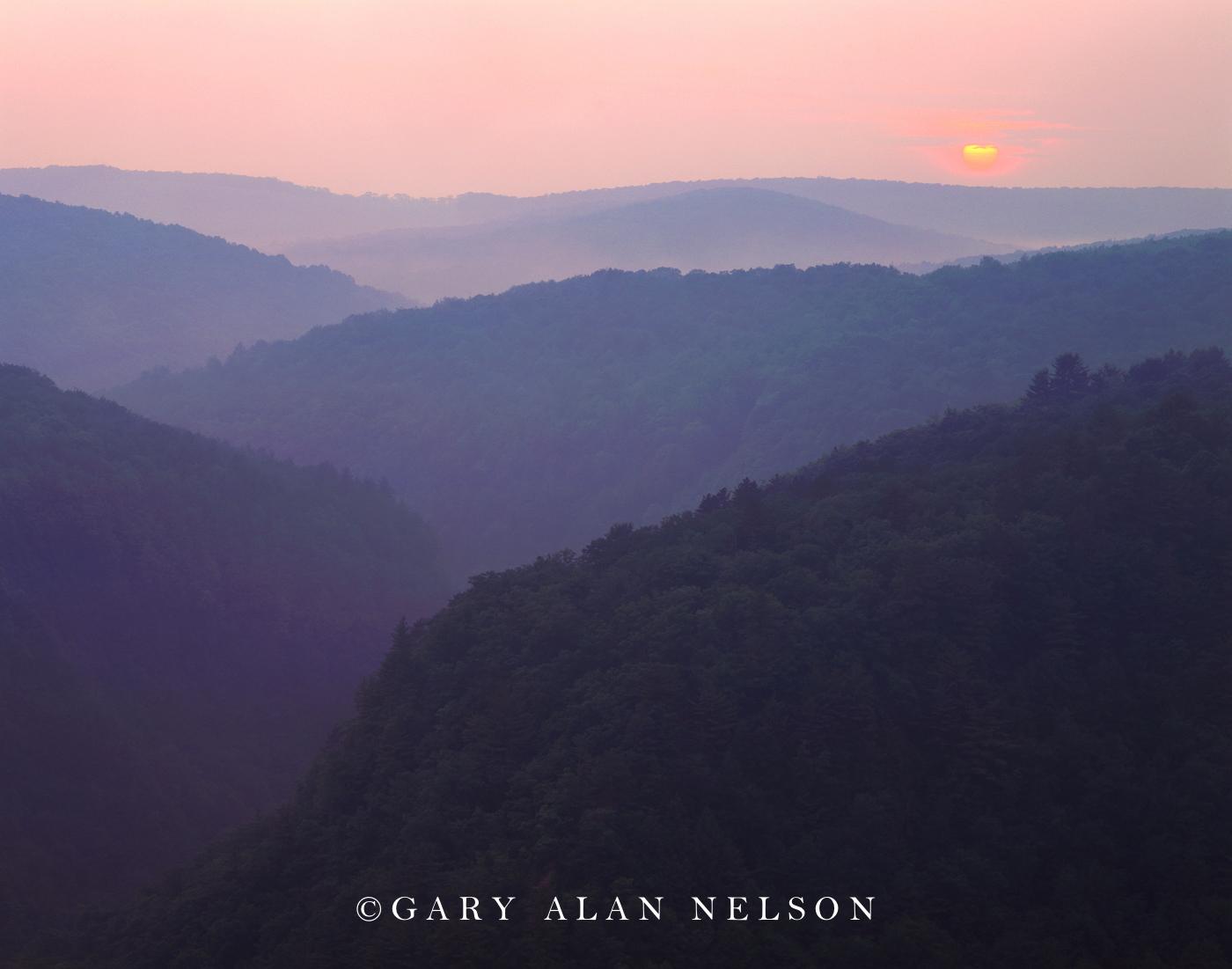 pennsylvania, hog backs, setting sun, state park, photo