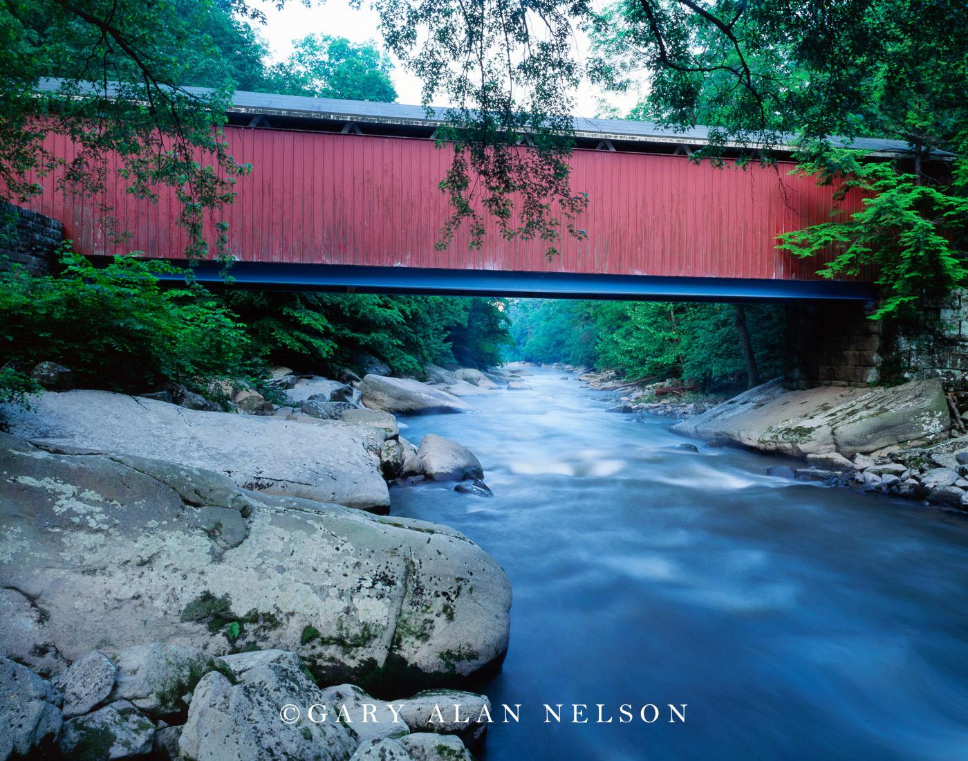 pennsylvania, state park, covered bridge, creek, state park, photo