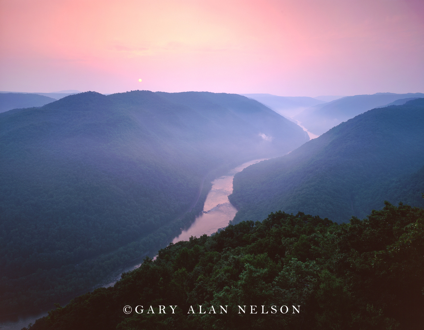 Sunrise over the New River Gorge National Scenic River, West Virginia